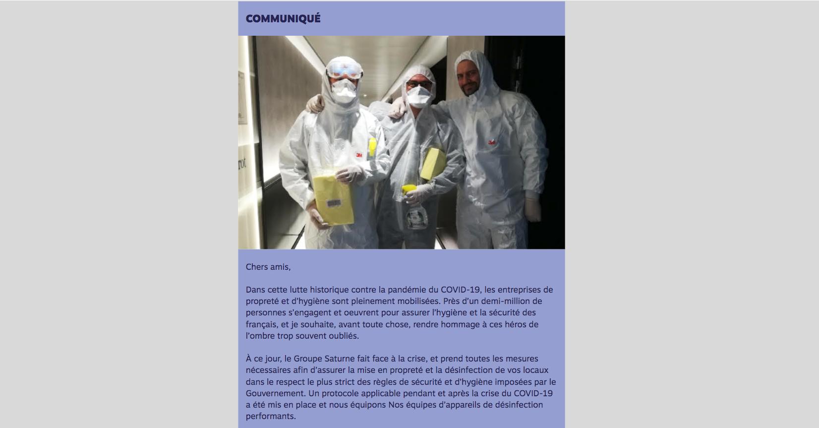 Le Groupe Saturne - Actualités - COVID - Un univers de propreté - Logo - Nettoyage professionnel - Entreprise de nettoyage