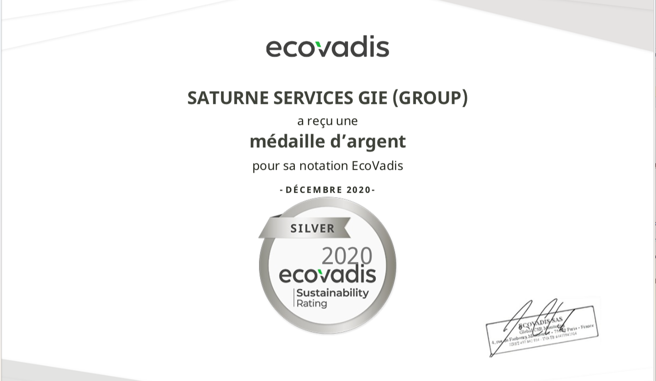 Le Groupe Saturne - RSE - Médaille Ecovadis - Nettoyage professionnel - Entreprise de nettoyage
