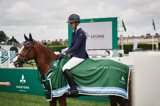 CHANTILLY, FRANCE - JULY 09 : Isee Doem riding Flore du Fleury takes 1st place in the Prix Groupe Saturne at the Masters of Chantilly, on July 09, 2021 in Chantilly, France. (Photo by Alexis Anice/ALeA/EEM)
