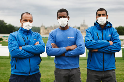 CHANTILLY, FRANCE - JULY 10 : Groupe Saturne cleaning workers are illustrated at the Masters of Chantilly, on July 10, 2021 in Chantilly, France. (Photo by Alexis Anice/ALeA/EEM)